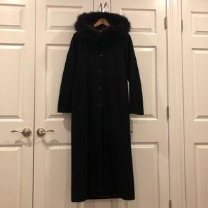 Vintage Steve by Searle Wool Long Coat Black Fur